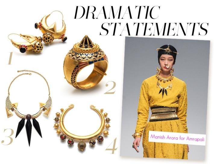 1. Orion Earrings | 2. Orbital Cuff | 3. Black Rock Necklace | 4. Ara Necklace