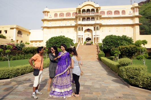 Backstage: Anita Dongre with Film-Director Onir and Jyothsna at the Samode Palace for the shoot.