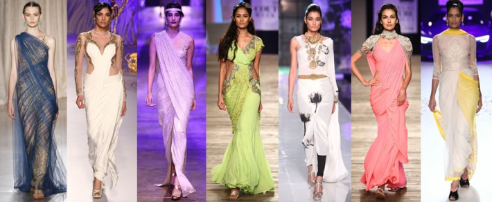 Left to right: Marchesa, Gaurav Gupta, Tarun Tahiliani, Monisha Jaising, Masaba, Monisha Jaising, Varun Bahl