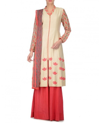 Ivory Palazzo Suit with Kettle Embroidery
