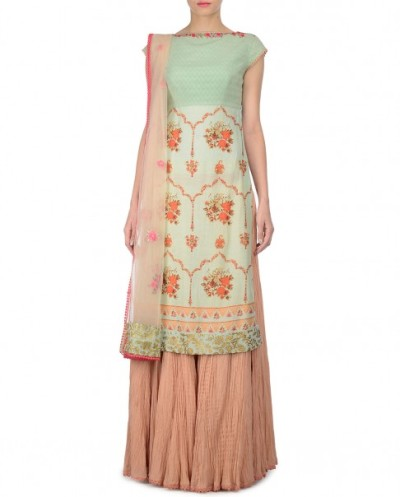 Mint Green Kurta and Skirt Set with Floral Prints