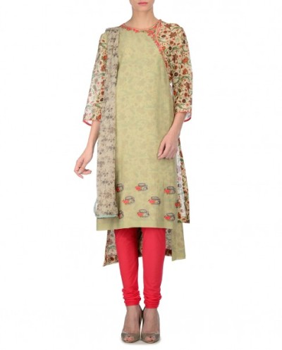 Pistachio Green Angarakha with Floral Prints