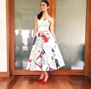 Alia Bhatt in a custom Ami Patel Dress at Shaandar music unveiling copy