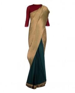 Kiran Uttam Ghosh Green and Teal Pleated Sari