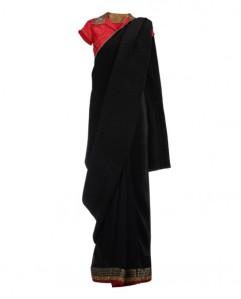 Kiran Uttan Ghosh Black Pleated Sari with red blouse
