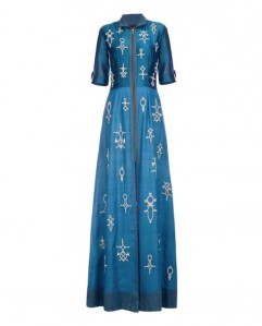 Nachiket Barve Royal Blue Dress with Bead Work