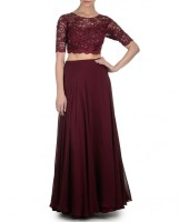 Amrita Thakur Maroon Handwork Skirt with Crop Top