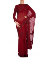 Expressionist By Jaspreet Brick Red Sari with Floral Appliqué