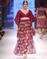 Shruti Sancheti Purple Woven Skirt and Wine Blouse